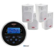 "Jensen Bluetooth USB AUX Marine Radio, 4 Boss White 4"" Box Marine Boat Speakers"