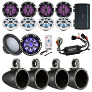 "6.5""Marine Speakers, Remote, Enclosures, Marine Amplifier w/Remote, 10""Subwoofer"