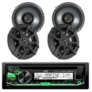 "Kicker 43CSC654 600-Watt 6-1/2"" Inch CS Series 2-Way Black Car Coaxial Speakers (2 Pairs), JVC KD-R97MBS iPod & Android CD MP3 Bluetooth Marine Boat Yacht Outdoor USB AUX AM/FM Radio Receiver"