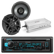 "Kicker 43CSC654 600-Watt 6-1/2"" Inch CS Series 2-Way Black Car Coaxial Speakers (Pair), Enrock Marine 4-Channel Marine/Powersports Amplifier, Kenwood KDC-BT32 1-DIN Bluetooth Car Stereo Receiver"
