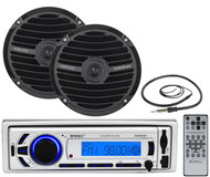 "Black 6.5"" Full Range Speakers, Enrock Bluetooth USB SD Mp3 Receiver & Antenna"