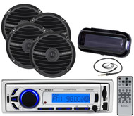 "Enrock Bluetooth USB SD Mp3 Marine Radio, 6.5"" Black Speakers, Antenna, Cover"