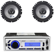 "Enrock USB Bluetooth SD AM FM Mp3 Radio, 2 Alpine 6.5"" 440W 2Way Car Speakers"