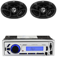 "EKMR256BT USB Bluetooth AM FM Mp3 Radio, JVC 6x9"" 400W 3Way Car Coaxial Speakers"