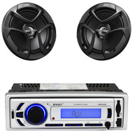 "Enrock AM FM USB Bluetooth Mp3 Receiver, JVC 6.5"" 2Way 300W Coaxial Car Speakers"