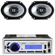 """2 Kenwood 6""""x8"""" 250W 2Way Car Speakers, Enrock Bluetooth USB AM FM Mp3 Receiver"""