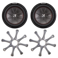 """Car Subwoofer Package: 2 X Kicker 43CWR102 10"""" CompR Car Audio Subwoofers, 2 x GR100 Grills for Kicker 10"""" Round Subwoofers"""