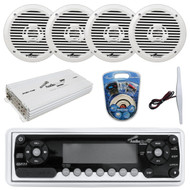 "16' - 25' Bay Boat: Audiopipe Marine AM FM CD Receiver, 4 x 6.5"" 2-Way Marine Speakers 200W, 4-Channel Amplifier 1400W, 8 Gauge Marine Amplifer Wiring Kit, Marine Radio Amplifier Antenna"