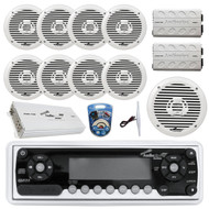 "36' - 42' Boat: Audiopipe Marine AM FM CD Receiver, 8x 8"" White Boat Speakers, 2x 4-Channel Amp 1400W, 10"" Subwoofer, 2x Mini 1000W Amp, 8 Gauge Marine Amplifer Wiring Kit, Marine Radio Amp Antenna"