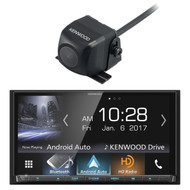 "Kenwood DDX9704 2-DIN In-Dash DVD/CD/AM/FM Car Stereo w/ 6.95"" Touch Screen with Built-in HD Radio, Apple Carplay and Android Auto With Kenwood CMOS130 Universal Rear-View Camera"
