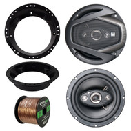 """This package includes a Dual DLS654 6.5"""" 6 1/2 Inch 4-Way 160-Watt Car Audio Speakers, Metra Mounting Ring for 6.5"""" Speaker Fits all Harley touring from 1998-2013, Enrock Audio 16-Gauge 50 Foot Speaker Wire"""