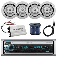 "16' - 25' Bay Boat: Kenwood Marine CD Receiver w/ Bluetooth, 4x Kenwood 6.5"" 2-Way Speaker, Kenwood 4-Channel Amplifier, Marine Grade 50 Foot 16-Gauge Speaker Wire, Outdoor Antenna"