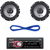 "2 Alpine Car 6.5"" Speaker Set & Wires, JVC In-Dash Car Stereo CD/MP3 AUX Radio (CMAPN040)"