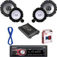 "JVC CD AUX Car Radio, Amp & Install Kit, 6.5"" Alpine Component System w/Wires (CMAPN044)"