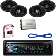"Pioneer Bluetooth CD Player AUX USB Radio, 6x9"" Speakers, KAC-M1824BT Amp & Kit (CMAPN207)"