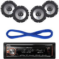 "Pioneer Car CD Bluetooth Radio, SXE-1725S 6.5"" 440W Car Speakers, Speaker Wire (CMAPN236)"