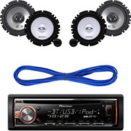 "Pioneer Car CD USB Bluetooth Radio, Alpine 6.5"" Speaker Car Set,14g Speaker Wire (CMAPN237)"