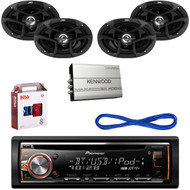 "JVC 6x9"" 400W Speakers w/Wires,Bluetooth USB CD Pioneer Radio,4 Channel Amp& Kit (CMAPN245)"