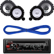 "Kenwood AUX CD USB  AM FM Car Radio, Alpine 6.5"" Speaker System & Speaker Wire (CMAPN313)"