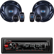 "Kenwood Car CD AUX AM FM USB Mp3 Receiver, Autotek 6.5"" 300 Watts 2Way Speakers (CMAPN811)"