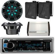 "Kenwood Bluetooth Boat Radio, 400W Amplifier,Kicker 6.5"" Marine Box Speaker Set (EKICMP16310)"