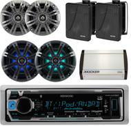 "Bluetooth USB Boat Radio,4""Kicker Speakers,8""Speaker,6.5""Box Speakers, Amplifier (EKICMP16417)"
