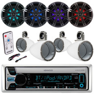 "6.5"" Marine Kicker LED Speaker,Enclosures,LED Remote,Kenwood Bluetooth AUX Radio (EKICMP16616)"