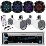 "8"" Kicker LED Marine Speakers and Enclosures, LED Remote,Bluetooth Kenwood Radio (EKICMP16717)"