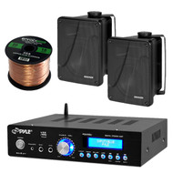 "Bluetooth Pyle Home Stereo Receiver, Kicker 6.5""Box Speakers, 50 FT Speaker Wire (ESKIT21608)"