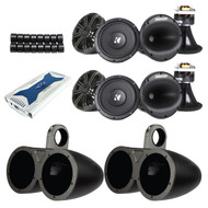 "4x Kicker Marine 6.5"" 400W Component Speakers w/ Enclosures, 2000W 6CH Amplifier (ESKIT21653)"