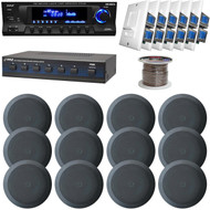 "In-Ceiling 5.25"" Speaker Set, AM FM USB Receiver, Volume Knob & Speaker Selector (HAPN0227)"
