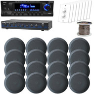 "5.25"" Black Ceiling Speakers, USB AM FM Receiver, Speaker Selector, Volume Knob (HAPN0248)"