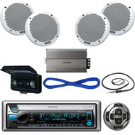 """Kenwood Yacht Stereo,Wired Remote,2X 6"""" Speaker,Amplifier, Wire, Antenna, Cover  (MBNPN414)"""