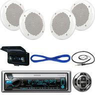 """Kenwood Marine Receiver,Wired Remote, 2X 6.5"""" 200W Speaker, Wire, Antenna, Cover (MBNPN419)"""