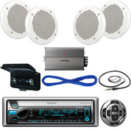 """Kenwood Yacht Stereo, Wired Remote, 6.5"""" Speaker, Amplifier, Wire,Antenna,Cover  (MBNPN420)"""