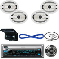"Kenwood CD Marine Receiver, Wired Remote, 2X 6x9"" Speakers, Wire, Antenna, Cover (MBNPN431)"