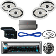 Kenwood Marine Receiver, Wired Remote, Speakers, Amplifier, Wire, Antenna,Cover  (MBNPN432)