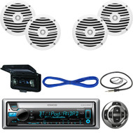 "Kenwood Marine Receiver, Wired Remote, 2X 6.5"" Speakers, Wire, Antenna, Cover  (MBNPN437)"