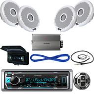 "Kenwood Bluetooth Marine USB Radio,Remote, Cover, 4""Speakers/Wires, Amp, Antenna (MBNPN506)"