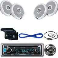 "Bluetooth Marine USB CD Radio, Remote, 4"" Boat Speakers & Wiring, Antenna, Cover (MBNPN507)"