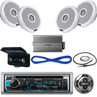 """KMRD368BT USB Boat CD Bluetooth Radio,Remote,4"""" Speakers/Wires,Amp,Antenna,Cover (MBNPN508)"""