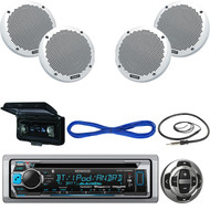 """Kenwood Bluetooth USB CD Boat Radio, Remote, 6"""" Speakers w/Wires, Cover, Antenna (MBNPN513)"""