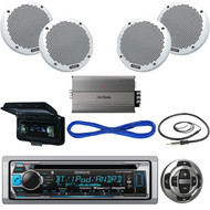 """KMR-D368BT Bluetooth CD Boat Receiver/Remote,6""""Speakers/Wires,Amp,Antenna,Cover (MBNPN514)"""