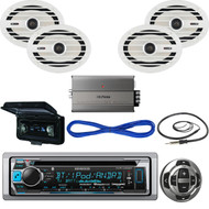 "Kenwood Bluetooth CD Marine Radio/Remote, Amp, 6x9""Speakers/Wires, Antenna,Cover (MBNPN532)"