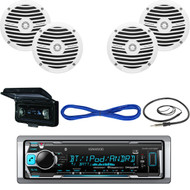 "KMRM318BT Boat Bluetooth USB Radio, Cover, 6.5"" Marine Speakers/Wiring, Antenna  (MBNPN535)"