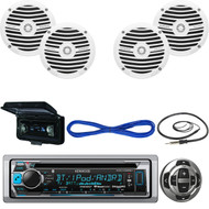 "KMRD368BT Bluetooth USB CD Boat Radio,Remote,6.5""Speakers w/Wires,Antenna,Cover  (MBNPN537)"
