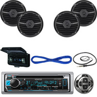 "Kenwood CD Boat Bluetooth Radio/Remote,6.5"" Marine Speakers/Wires,Antenna, Cover (MBNPN543)"