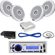 "Enrock AMFM SD Bluetooth USB Boat Radio,Housing,4""Speakers/Wire,400W Amp,Antenna (MBNPN606)"
