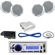 """EKMR256BT Bluetooth Marine USB Radio, Antenna,Housing,400W Amp,6"""" Speakers/Wires (MBNPN612)"""