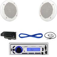 """EKMR256BT Marine USB Bluetooth Radio, Cover ,  6.5"""" 200W Speakes/Wires, Antenna  (MBNPN615)"""